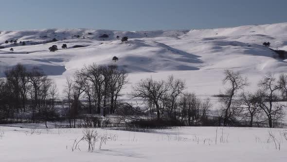 Prairie Grassland Landscape Scenery in South Dakota in Winter Snow