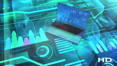 Business Background With Big Data And Laptop HD