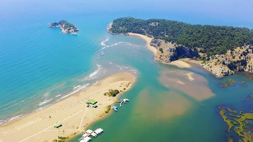 Iztuzu Sandy Spit. The Boundaries of the Two Seas of the Aegean and the Mediterranean. Sunny