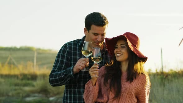 Thumbnail for Inlove Caucasian Couple Tasting Delicious Wine