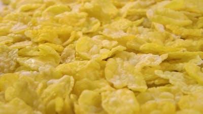 Uncooked corn flakes. Dry quick breakfast