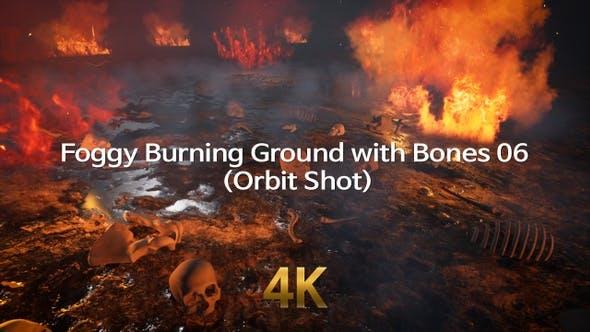 Foggy Burning Ground with Bones 4K 06(Orbit Shot)