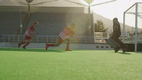 Hockey players during a match
