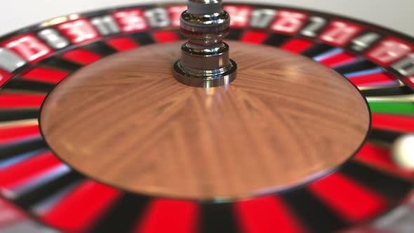 Thumbnail for Casino Roulette Wheel Ball Hits 35 Thirty-five Black