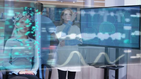 Thumbnail for Female Scietist Looking at Virtual Hologram Interface in Front of Her Eyes