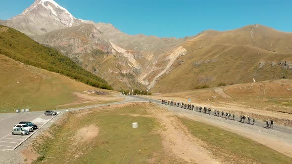 Climbers Hike To Kazbek Mountain
