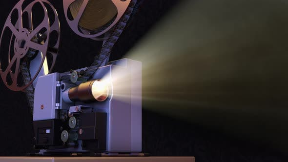 Movie Projector with Film Reel Plays the Old Retro Video on Projection Screen
