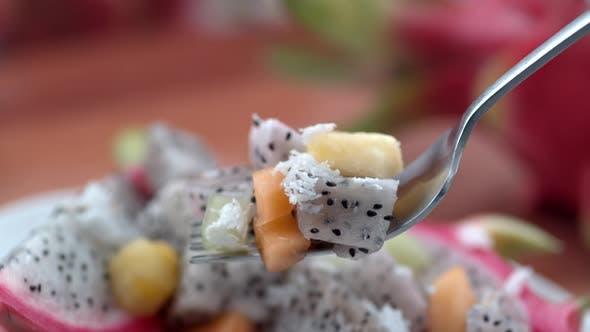 Dragon fruit salad , slow motion, shot on Phantom Flex 4K