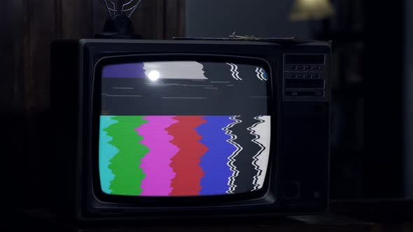 Thumbnail for Retro TV with Static Noise and Color Bars. Night Tone.