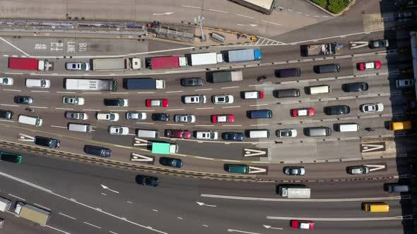 Top view of traffic congestion in Hong Kong