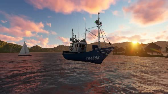 Thumbnail for Fishing boat at sunset