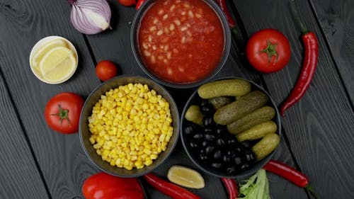 Canned Vegetables in a Plate