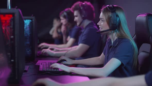 Cybersport Team Taking Part In Competition
