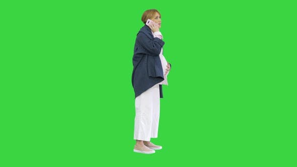 Pregnant Woman Contractions Feeling Pain Calling Ambulance Cell Phone Green Screen Chroma Key