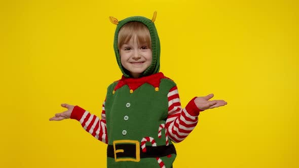 Thumbnail for Shocked Kid Girl Christmas Elf Santa Helper Costume