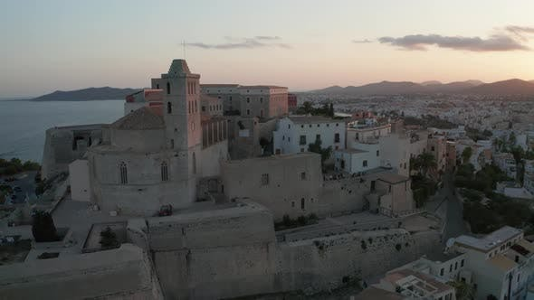 Cover Image for Aerial View of the Old City on the Island of Ibiza During Sunset.