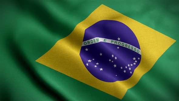 Thumbnail for Brazil Flag Closeup Blowing In Wind