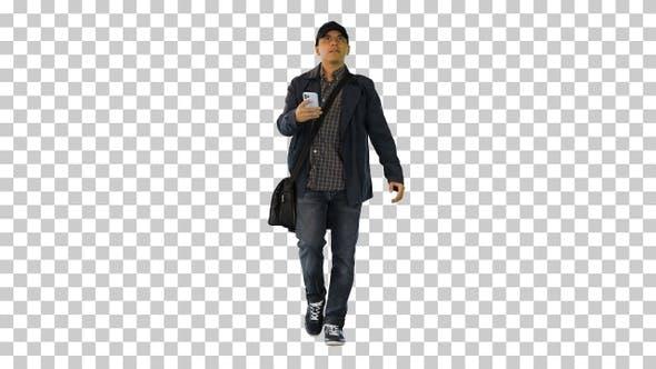 Hispanic mailman walking and using his, Alpha Channel
