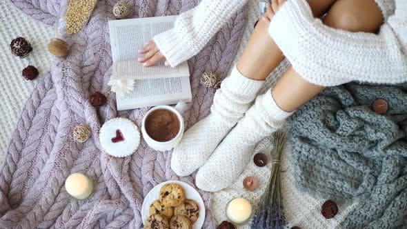 Thumbnail for Cosy Winter Atmosphere With Knit Socks And Hot Chocolate