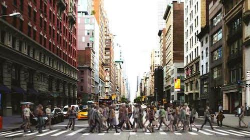 Crowd Crosswalk Side View