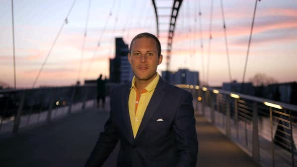 Attractive Young Caucasian Business Man Succeed in Finance Career