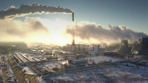 Upper View Huge Power Plant Steam Smoke Clouds Hide Sun Rays
