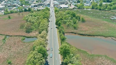 View From the Top Automobile Bridge Passing in the Over River of Concrete Bridge