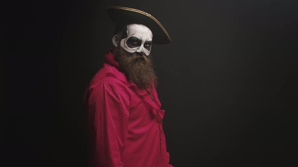 Thumbnail for Crazy Man with Make Up Dressed Up Like Pirate