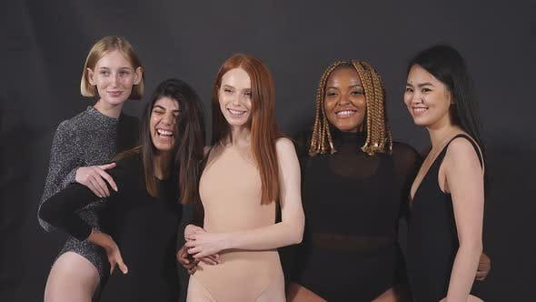 International Group of Young Women Enjoying Their Body Size and Type