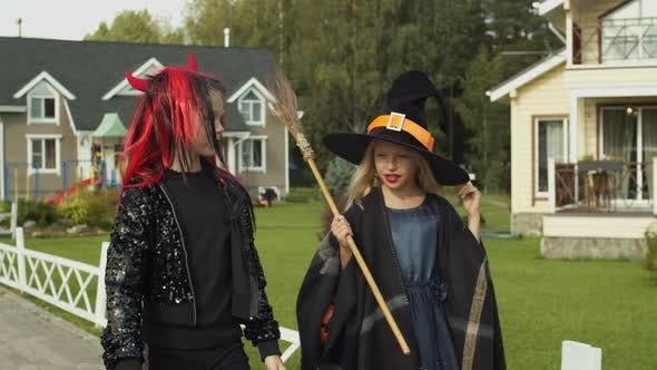 Thumbnail for Two Girls Trick or Treating