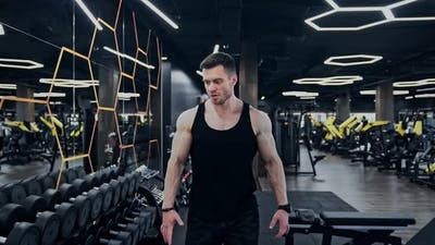 Man Bodybuilding Weight Lifting in a Gym Fitness Training