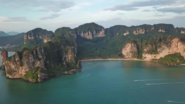 Thumbnail for Aerial of Tropical Turquoise Lagoon Beach Rocks