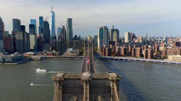 Thumbnail for Brooklyn Bridge and East River Aerial View. Well-recognizable Cityscape of New York.