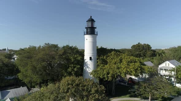 Thumbnail for Aerial view of a white lighthouse