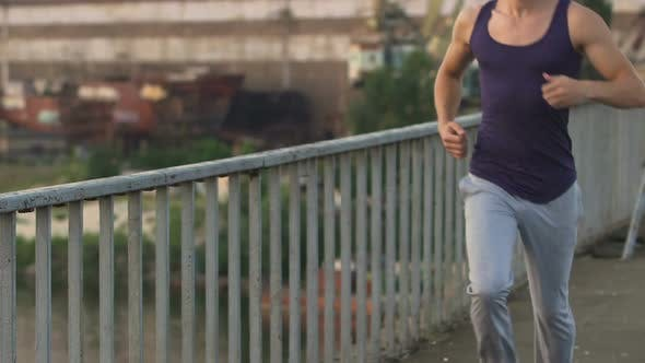 Thumbnail for Athlete Jogging in The Morning, Training Body Muscles to Be Fit and Healthy