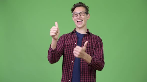 Thumbnail for Young Handsome Teenage Nerd Boy Giving Thumbs Up