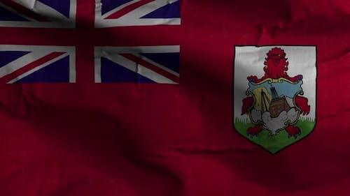 Bermuda Flag Textured Waving Background 4K
