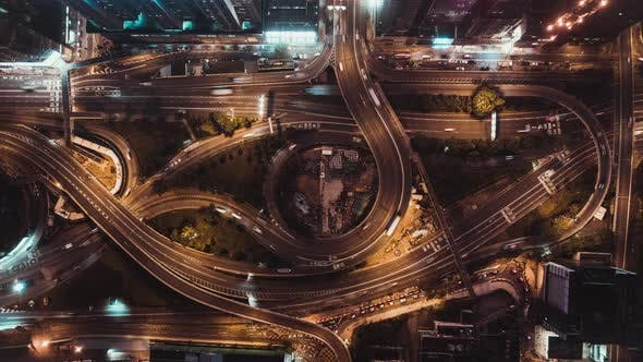 Thumbnail for Top View Time-Lapse of Car Traffic at Night on Highway Road in Hong Kong, Zoom Out
