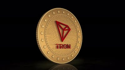 Tron TRX cryptocurrency golden coin 3d