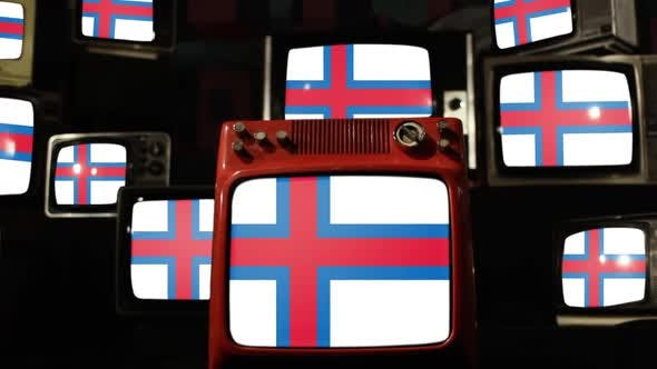 Flag of the Faroe Islands and Retro TVs.