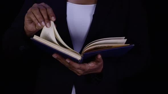 Business Woman Reads Book