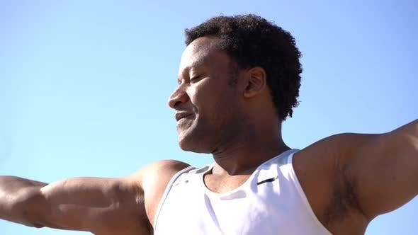 Thumbnail for Happy African American Man Training at Sunny Day