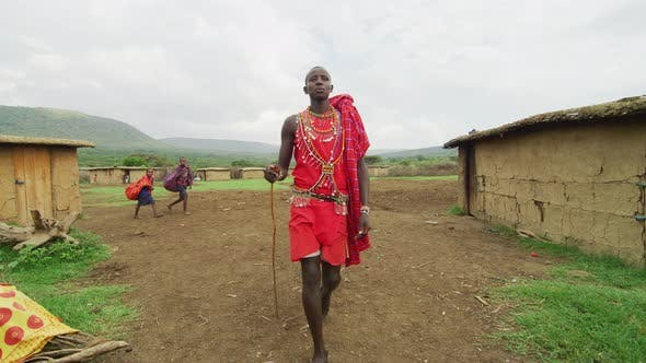 Maasai man walking