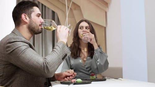 Family Couple Having Celebration in Restaurant