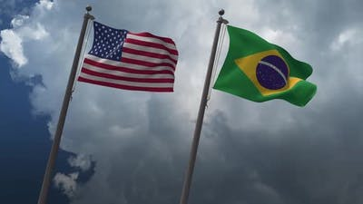 Waving Flags Of The United States And The Brazil 2K