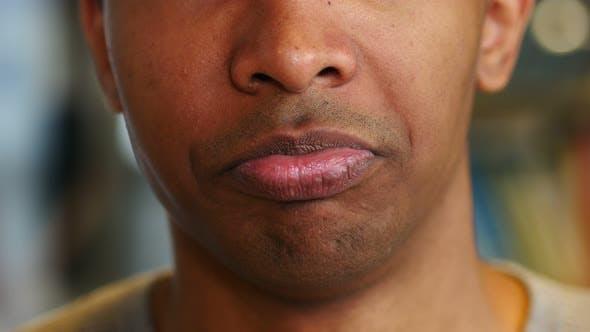 Thumbnail for Upset Sad Afro-American Man Face, Lips Reaction
