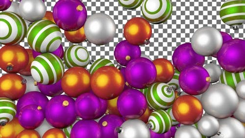 Christmas Balls Transition - Orange Green Purple White