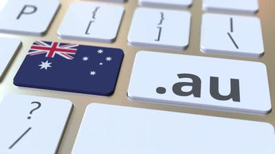 Australian Domain .Au and Flag of Australia on the Buttons