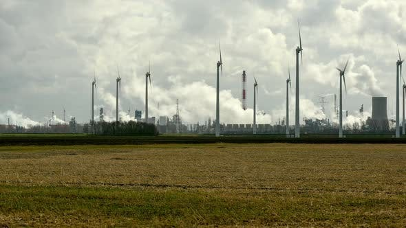 Thumbnail for Wind turbines and chemical plant