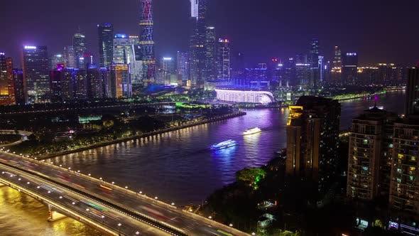 Guangzhou Pearl River Bridge at Night in China Timelapse